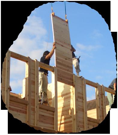 板倉造りの家 建て方の様子