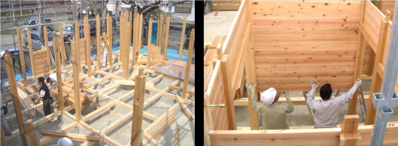 建て方工事 ・ 板倉構法(落とし込み壁構法)