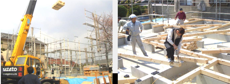 木材搬入 ・ 土台敷き工事