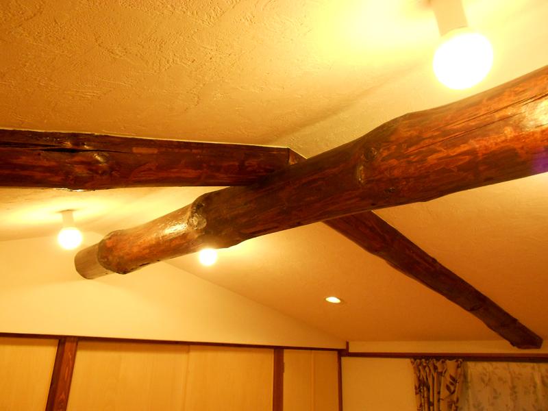 八尾 東弓削 T邸 2階 小屋組みの見える迫力ある空間。
