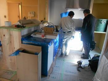 大阪旭区 自然素材のマンションリフォーム キッチン施工02