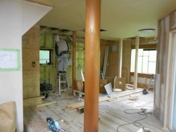 奈良広陵 無垢と漆喰の耐震リフォーム 1階天井ボード01