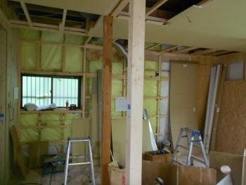 奈良広陵 無垢と漆喰の耐震リフォーム 1階天井ボード02