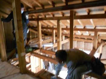 奈良広陵 無垢と漆喰の耐震リフォーム ロフト部分工事02
