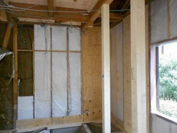 奈良広陵 無垢と漆喰の耐震リフォーム 耐力壁施工開始02
