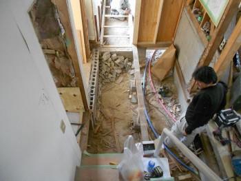 奈良広陵 無垢と漆喰の耐震リフォーム 玄関ホール解体02