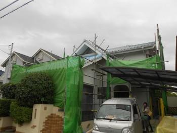 奈良広陵 無垢と漆喰の耐震リフォーム 足場設置