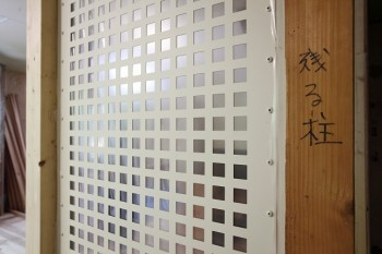 奈良広陵 無垢と漆喰の耐震リフォーム 透光耐震壁施工03