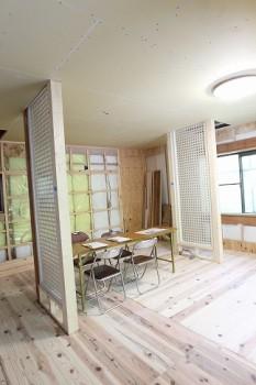 奈良広陵 無垢と漆喰の耐震リフォーム 透光耐震壁施工01