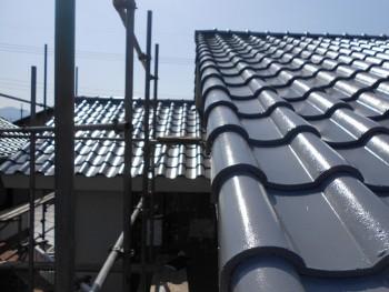 奈良広陵 無垢と漆喰の耐震リフォーム 屋根塗装開始03
