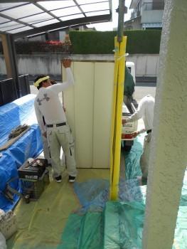 奈良広陵 無垢と漆喰の耐震リフォーム 雨戸塗装02