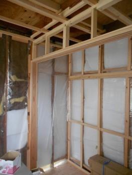 奈良広陵 無垢と漆喰の耐震リフォーム 内部建具枠施工01