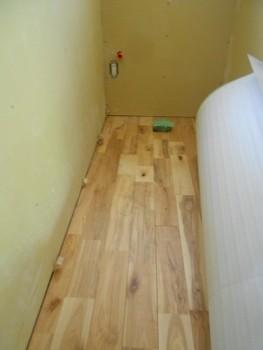 奈良広陵 無垢と漆喰の耐震リフォーム トイレ床貼り