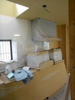 奈良広陵 無垢と漆喰の耐震リフォーム キッチン施工01