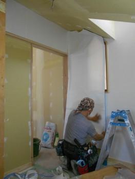 奈良広陵 無垢と漆喰の耐震リフォーム 和紙施工開始01