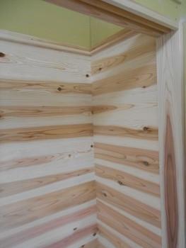 奈良広陵 無垢と漆喰の耐震リフォーム 収納棚内部板貼02