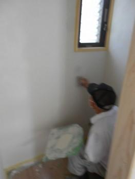 奈良広陵 無垢と漆喰の耐震リフォーム 洗面所・トイレ漆喰仕上01