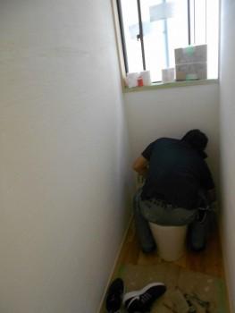 奈良広陵 無垢と漆喰の耐震リフォーム 洗面所・トイレ漆喰仕上02