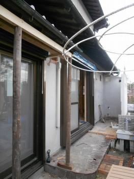 大阪 交野 自然素材健康住宅の耐震リフォーム 庇桁付替02
