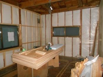 大阪 交野 自然素材健康住宅の耐震リフォーム 2階壁下地材施工01