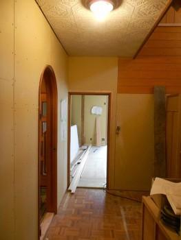 【廊下漆喰下地ボード】大阪 交野 自然素材健康住宅の耐震リフォーム02