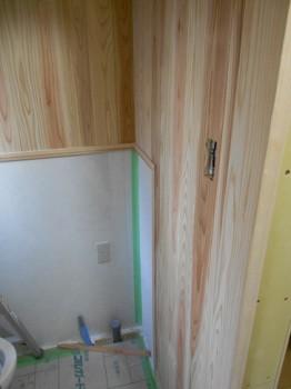 【トイレ壁杉板貼】大阪 交野 自然素材健康住宅の耐震リフォーム01