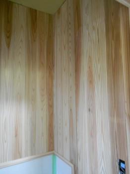 【トイレ壁杉板貼】大阪 交野 自然素材健康住宅の耐震リフォーム02