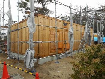 【建て方】服部緑地「板倉造り」事務所棟移築 建て方02
