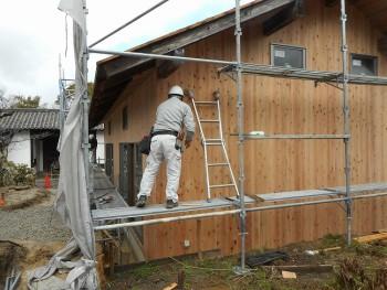 【仕上~外構】服部緑地「板倉造り」事務所棟移築 外壁仕上げ01