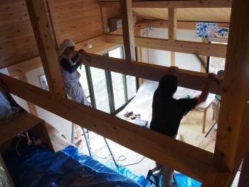 和歌山市内原 板倉造りの家 ロフト増設小梁取付04